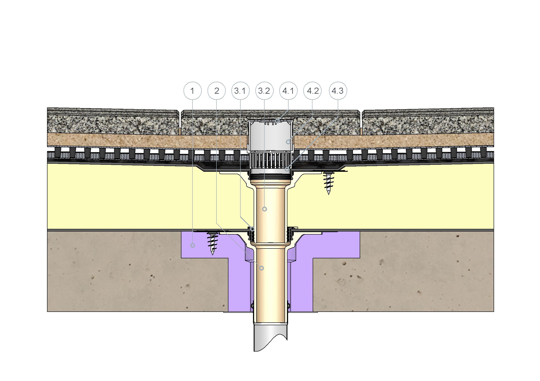 SitaCompact für die Hauptentwässerung im nicht belüfteten Dachaufbau bei Plattenbelag im Splittbett