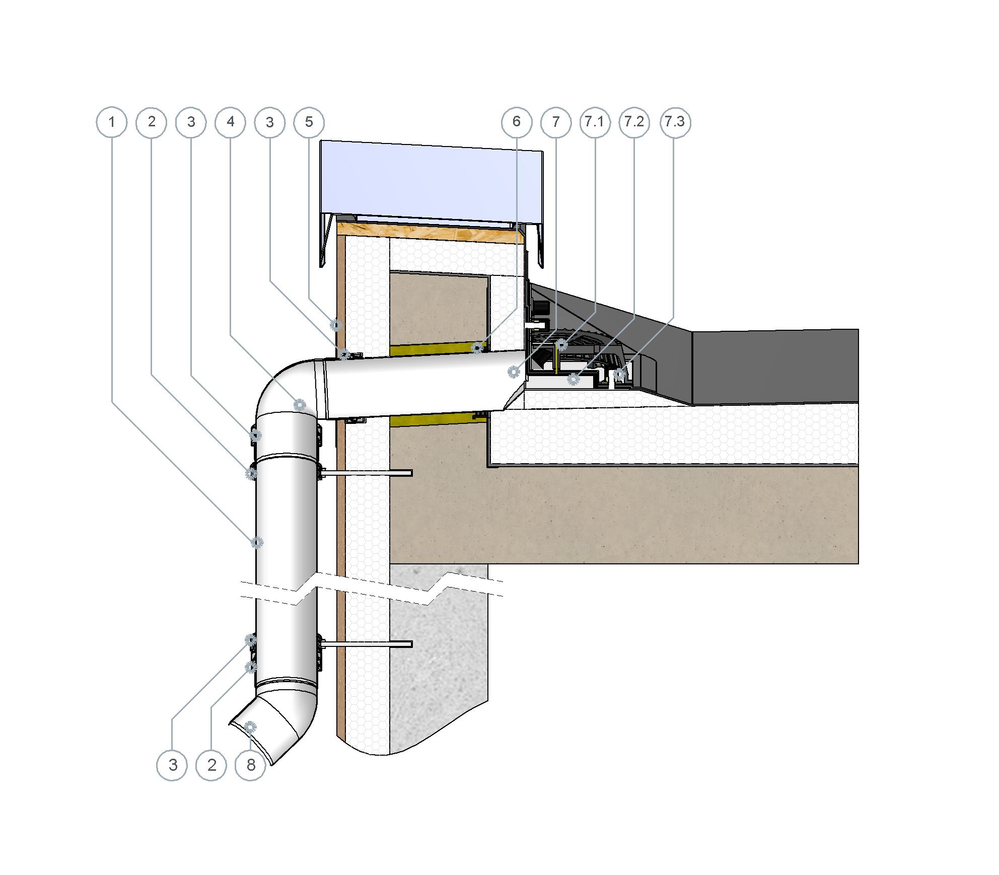 SitaRondo erhöht eingebaut mit Fallleitung im nicht belüfteten Dachaufbau