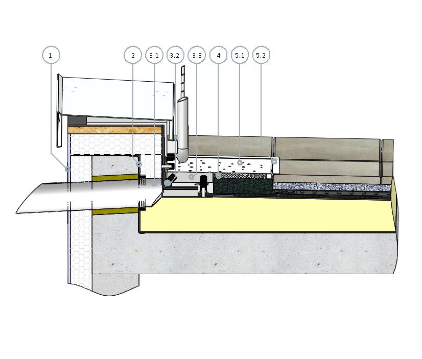 SitaRondo mit Anstaulosflansch und SitaDrain Profilrahmen im nichtbelüfteten Dachaufbau mit Plattenbelag im Splittbett
