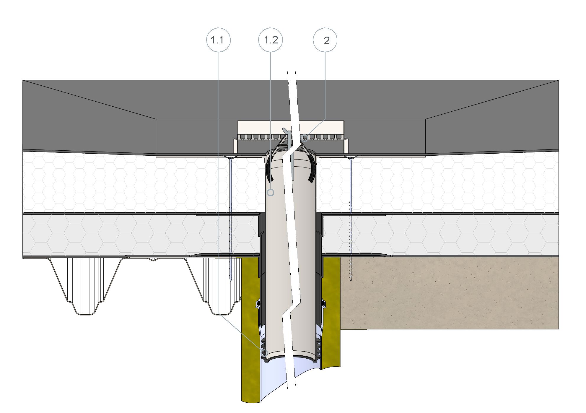 SitaSteel Sanierungsgully im nicht belüfteten Dachaufbau