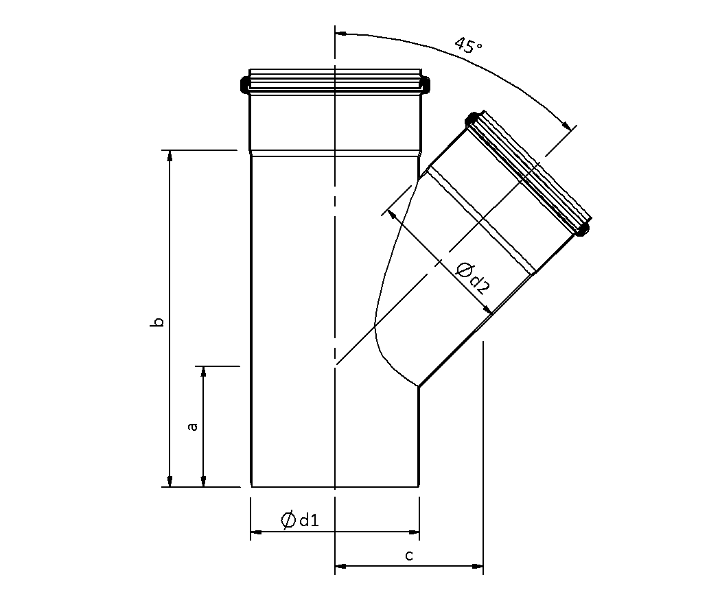 SitaPipe Edelstahl  - Abzweig 45°