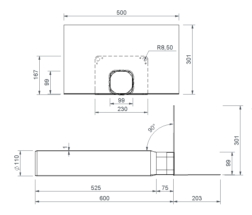 SitaSteel Attika quadrat DN 100 - Attikagully