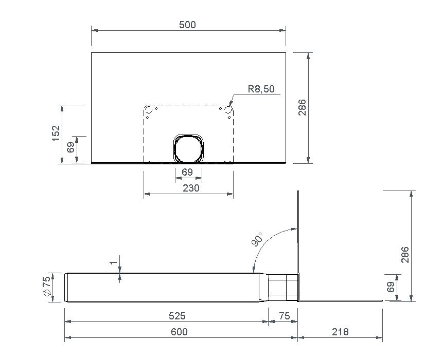SitaSteel Attika quadrat DN 70 - Attikagully