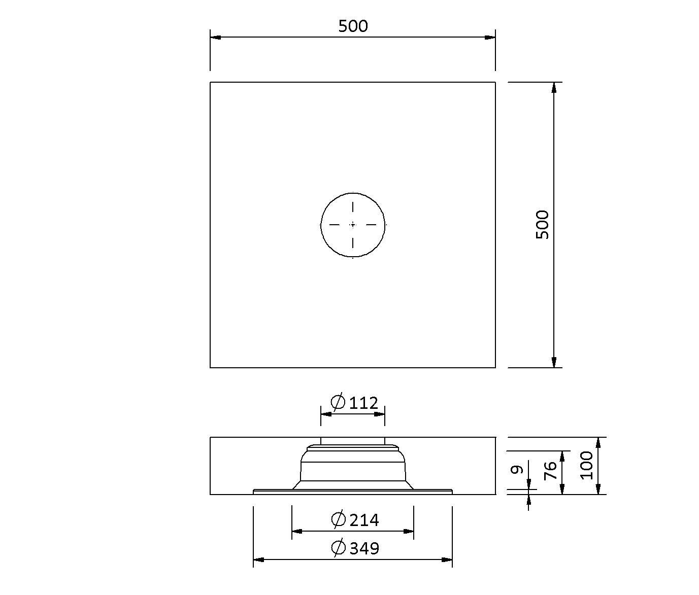 SitaVent DN 100 - Grundplatte Dämmkörper
